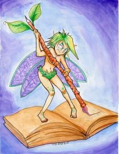 A fairy writing in a book