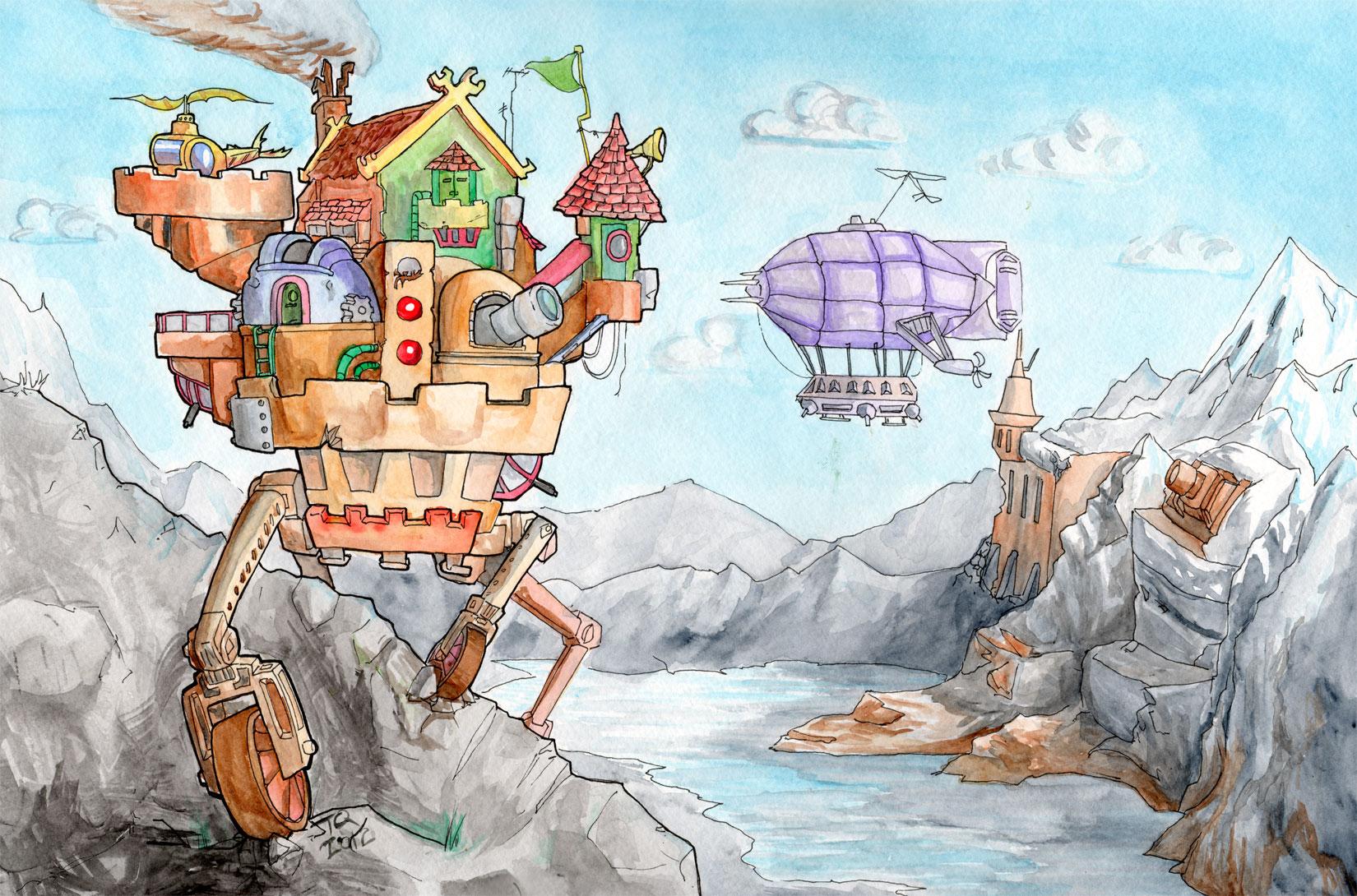 Walking Castle Scene in Watercolor