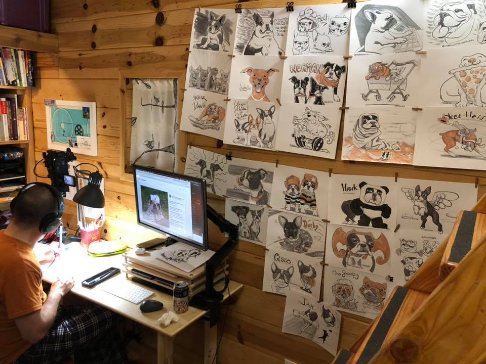 me drawing a dog, wall covered with dog drawings